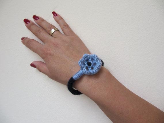 Knitted Blue Jewelry Crochet Blue Flowers Necklace Bracelet Jewelry Set Handmade Textile Jewelry Set