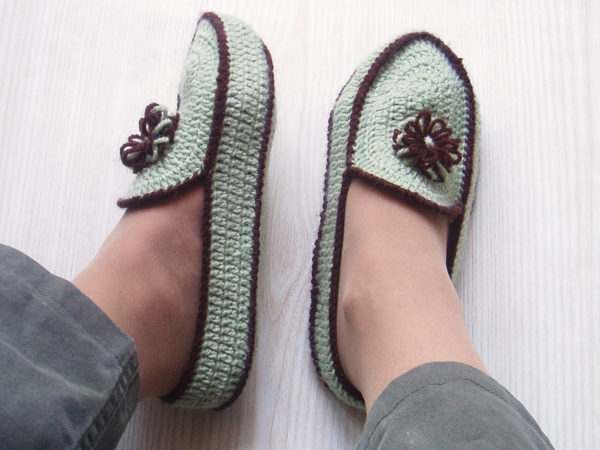 768b904197069 Crochet Green Brown House Slippers, Crochet House Shoes, Handmade Slippers,  Custom Crochet Slippers Women Ladies