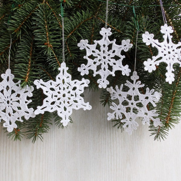 Christmas lace cotton crochet white snowflakes set of 5 for Lace home decor