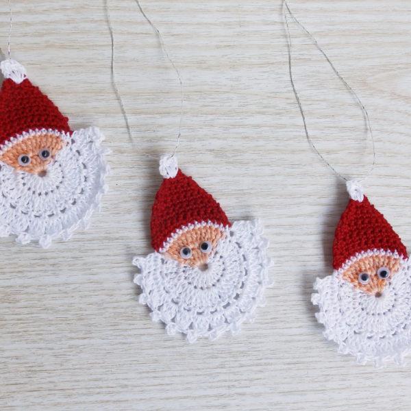 Crochet Santa Claus Face, Crochet Christmas Ornament Set of 3 ...