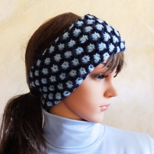 Hand Knitted Blue Two Tone Cable Skiing Ear Warmer Headband Hand