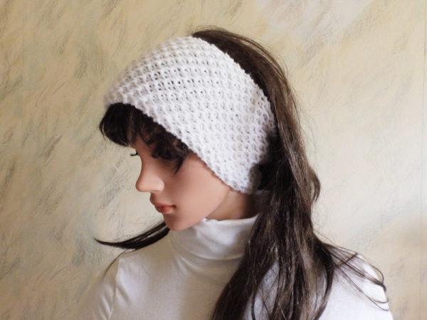 White Ear Warmer Hand Knitted Wool Chunky Headband Knit Head Warmer