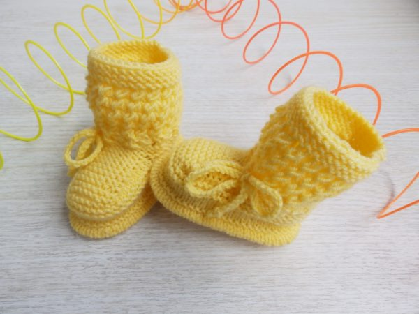 86ceddd15aa Yellow Newborn Baby Hand Knitted Booties, Handmade Baby Girl Boy Acrylic  Boots, Knitted Baby Accessories