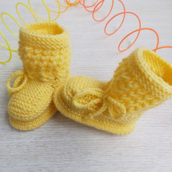 ad51600ab5fc Yellow Newborn Baby Hand Knitted Booties